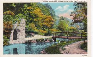 Illinois Joliet West Park Rustic Bridge and Spring House Curteich