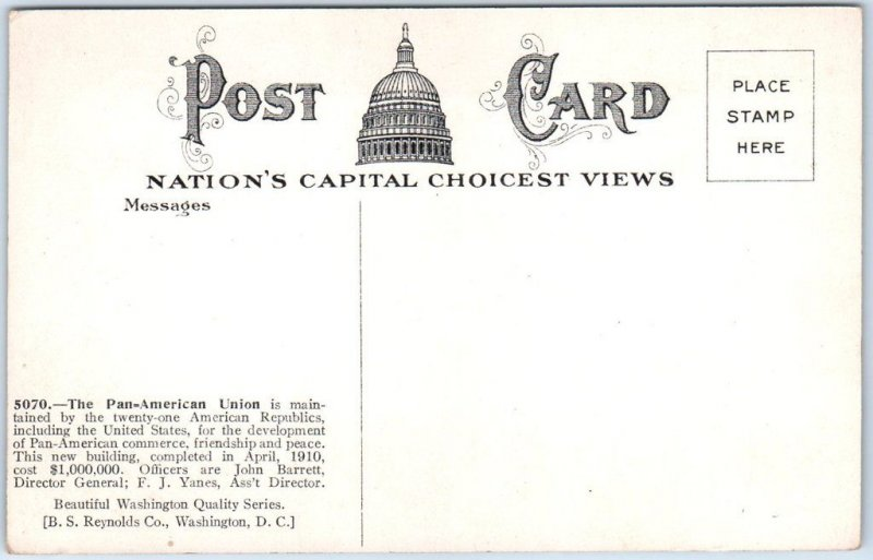 Washington DC Postcard Pan-American Union Building, Street View c1910s UNUSED