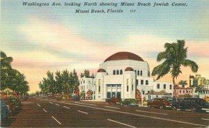 Miami Beach Florida Washington Ave Jewish Center  Judaica 1940s Postcard 21-9606