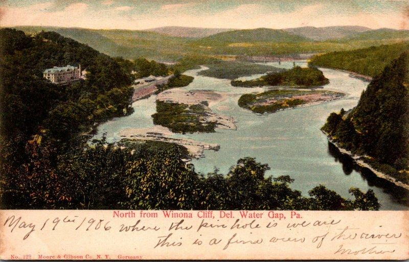Pennsylvania Delaware Water Gap View North From Winona Cliff 1908