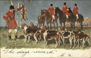 Fox Hunt Hunting Hound Dogs Horses Series #291 c1910 Postcard #4