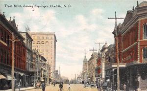 12495  NC  Charlotte  1908   Tryon Street  showing Skyscraper