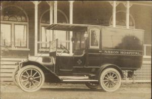 Roaring Springs PA Nason Hospital Ambulance 1913 Real Photo Postcard jrf