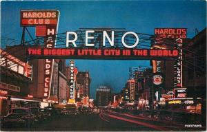 1950s Night Neon Picturesque Arch Reno Nevada Intermountain postcard 10162