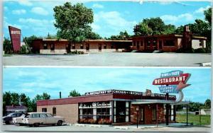 Vintage Illinois Postcard MOTEL NORTHLAKE 2 Views w/ 1961 MELORSE PARK Cancel