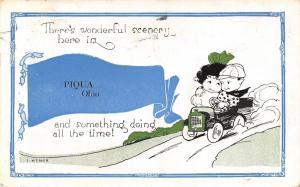 Something Doing All the Time in Piqua Ohio~Comic Kids in Auto~1921 Pennant PC
