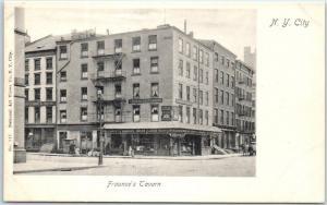 New York City Postcard FRAUNCES TAVERN Hotel Broad & Pearl Street View c1900s