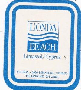 Cyprus Limassol L'Onda Beach Hotel Vintage Luggage Label sk2788