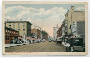 State Street Cars Bridgeport Connecticut 1920c postcard
