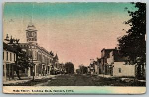Sumner Iowa~Main Street Looking East~Corner Clock Building~Storefronts~1912 PC