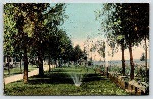 Port Huron Michigan~Gratiot Beach~Fountain on Lawn~Pavilion~Lake on Right~c1910