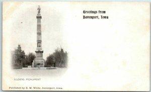 Davenport, Iowa P.M.C. Postcard SOLDIERS MONUMENT Civil War c1900s UNUSED