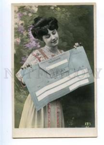 177589 FASHION Lady w/ Huge TELEGRAMME Vintage PHOTO PC