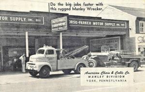 York PA American Chain & Cable Co. Tow Trucks Wrecker Service 1955 Postcard