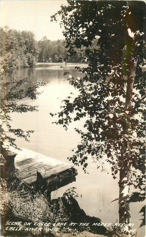 Eagle River Wisconsin Lake Morey Resort RPPC Photo Postcard 12841