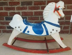 Early 1940's Antique Buddo The Happi-Time Rocking White Horse Sears Roebuck