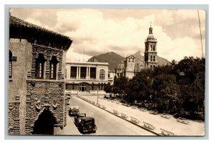 Vintage 1930's RPPC Postcard Monterrey Mexico Street Scene Antique Autos