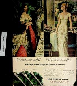 1947 Rogers Bros 200th Anniversary Silverware Vintage Print Ad 4565