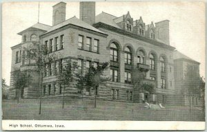Vintage OTTUMWA, Iowa Postcard HIGH SCHOOL Building View / 1909 Cancel
