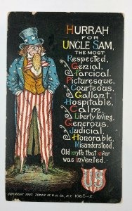UNCLE SAM , FLAG, 1907 TOWER M & N CO NY, POSTCARD, JULY 4TH 106S-2