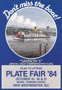 Ferry SAMSON V plate , Plate Fair'84 , NEW WESTMINISTER , B.C. , Canada 1984