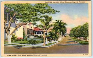 Republic of Panama  BELLA VISTA   STREET SCENE  ca 1940s Linen  Postcard