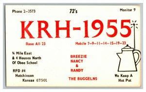 QSL Radio Card From Hutchinson Kansas KRH-1955