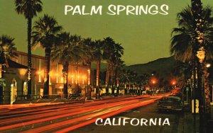 Palm Springs, CA, Night Lights along Palm Canyon Drive, Vintage Postcard g5888