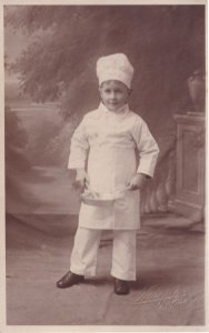 Young Boy Chef & Frying Pan Antique Social History Postcard