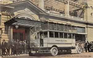 F81/ San Diego California Postcard 1913 U.S. Grant Hotel Auto Bus Tourists