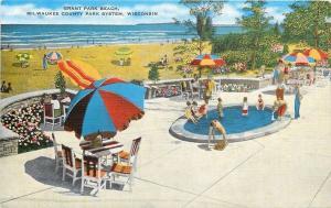 Milwaukee Wisconsin~Grant Park Beach~Kiddies Wading Pool~1940s Linen Postcard