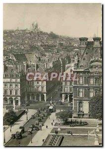 Postcard Moderne in Paris Flannant Square Pyramids Montmartre and Sacre Coeur