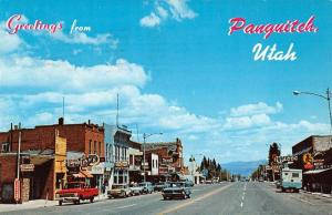 Panguitch Utah Greetings From scenic view in town vintage pc Z19771