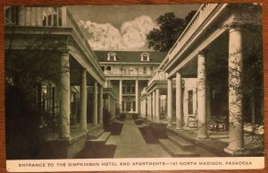 Entrance To Simpkinson Hotel & Apartments, Pasadena, CA 1939 Vintage Postcard