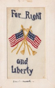Embroidered 1914-18 ; USA Flags , For Right & Liberty