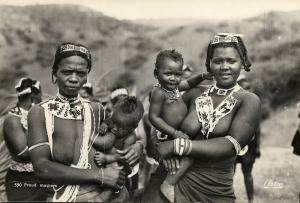 south africa, Native Girls carying Babies, Breast Feeding (1950s) Artco RPPC