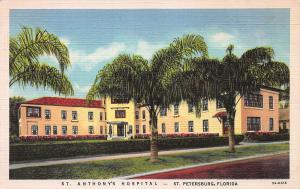 St. Anthony's Hospital, St. Petersburg, Florida, Early Linen Postcard, unused