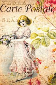 Postcard French Vintage Shabby Chic Style, Girl with Roses, Floral 15K