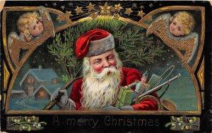 F99/ Santa Claus Christmas Postcard c1910 Toys Gold Angels Tree 9