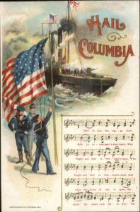 US Navy Sinking of Ship Columbia Patriotic Sheet Music Postcard c1905 Postcard