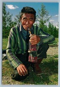 2011 ASIA MONGOLIA Mongolian stock-breeder with PIPE Rare Russian Photo Postcard