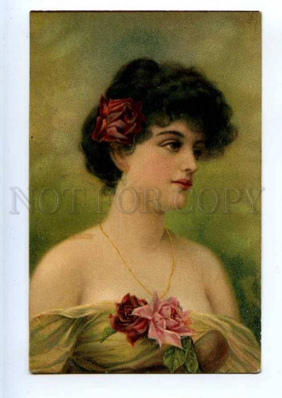 240653 Portrait of BELLE Lady UnSign ASTI Vintage Colorful PC