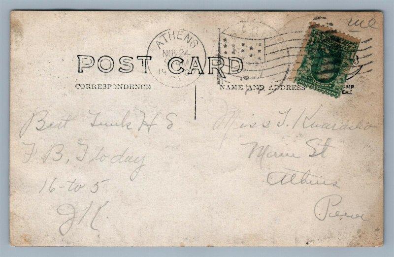 TUNKHANNOCK PA BIRDS EYE VIEW ANTIQUE 1907 REAL PHOTO POSTCARD RPPC