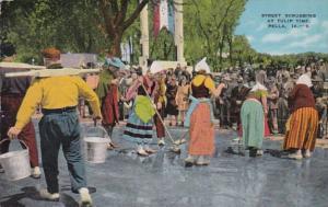 Iowa Pella Street Scrubbing At Tulip Time 1951