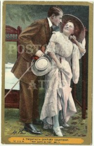 Romantic Couple Courting - A Twentieth Century Courship Vintage Postcard 1909