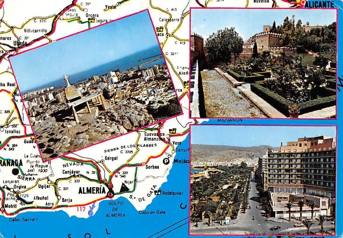 Spain Almeira Multiviews Souvenir Map Alicante Granada Hippostcard