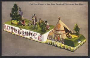 Ochlocknee Ochlochnee GA Cherokee Indian Teepee Parade Float Linen Postcard 50s