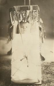 AMERICAN INDIAN PAPOOSE ANTIQUE REAL PHOTO POSTCARD RPPC