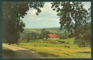 Freight Train FARM SCENE Southern Railway Barn Countryside USA Railroad Postcard