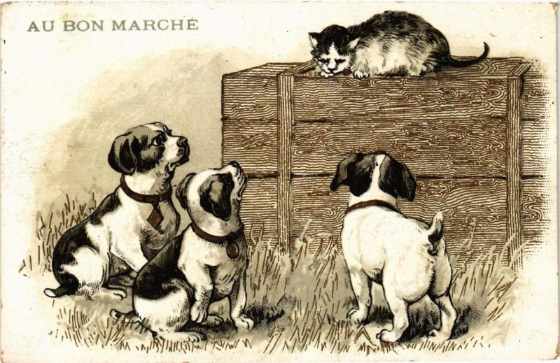 CPA Au Bon Marche, puppies and the cat DOGS (727296)
